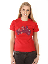 Australia GlamourGlitz Flag Women's T-Shirt - Exclusive GlamourGlitz ''<b>Mommy & Me</b>'' Women's T-Shirt. <br /><br /> Designed with a full Australian Flag design, crafted with Red, Silver and Blue Rhinestuds that catch a sparkle in the light. Whether you wear this to match up with your pet or just on it's own, you can be sure you are wearing...