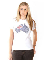 Australia GlamourGlitz Flag Women's T-Shirt - Exclusive GlamourGlitz ''Mommy and Me'' Women's T-Shirt.  Designed with a full Australian Flag design, crafted with Red, Silver and Blue Rhinestuds that catch a sparkle in the light. Whether you wear this to match up with your pet or just on it's own, you can be sure you are wearing a unique design....
