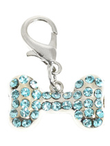 Swarovski Bone Dog Collar Charm (Aquamarine Crystals) - Stunning Diamante Bone Charm (embellished with 34 Aquamarine Swarovski Stones) attaches to any collar's D-ring with a lobster clip. Diamante Bone Charm. Measures approx. 1'' / 2.5cm wide.