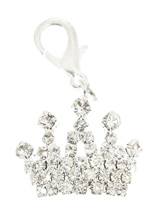 Imperial Crown Swarovski Dog Collar Charm - This impressive charm is an Imperial Crown rendered in silver plate and detailed with 45 Swarovski Crystals. Remind everyone of the respect your pup is due by flashing this regal charm. Attaches to any collar's D-ring with a lobster clip. Measures approx. 1'' / 2.5cm wide.