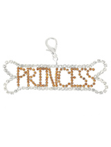 Princess Royal Bone Swarovski Dog Collar Charm - This is our biggest and best charm and a stunning creation it is. The bone is silver plated and features 70 clear Swarovski Crystals which make up the shape of the bone and 'Princess' is inlaid with 112 Amber Swarovski Crystals, the contrast is truly amazing. Attaches to any collar's D-ring with a l...