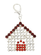 Home Sweet Home Swarovski Dog Collar Charm - Your pup will never be in the 'dog house' with this beautiful charm, silver plated and embellished with 55 clear Swarovski Crystals with 19 red Crystals making up the door and 13 Ruby Swarovski Crystals topping the piece off. Attaches to any collar's D-ring with a lobster clip. Measures approx. 1.5'...