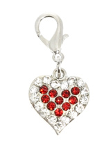 Swarovski Heart Dog Collar Charm - Exclusively designed to honour the spirit of your special friend. Finely crafted and accented with 10 ruby red and 17 clear Swarovski Crystals. Attaches to any collar's D-ring with a lobster clip. Measures approx. 3/4'' / 2cm wide.