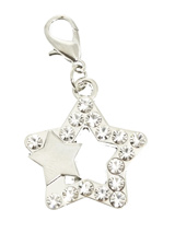 Double Star Swarovski Dog Collar Charm - The big star looks over the little star representing the owner and their pup. The small star has a polished finished while the bigger star is encrusted with Swarovski Crystals. Attaches to any collar's D-ring with a lobster clip. Measures approx. 3/4'' / 2cm wide.