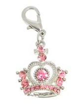 Czarina Crown Swarovski Dog Collar Charm - Designed in the style of the crowns of the Imperial Russian court this beautiful charm features 25 pink and a multitude of clear Swarovski Crystals. Attaches to any collar's D-ring with a lobster clip. Measures approx. 1'' / 2.5cm wide.