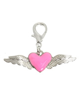 Angel Wings / Heart Dog Collar Charm - An angel's wings symbolises protection and the heart is the universal symbol of love showing how much you love and cherish your pup. This charm is beautifully finished with a pink enamel heart flanked with silver plated wings. Attaches to any collar's D-ring with a lobster clip. Measures approx. 1.7...