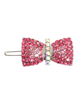 Ribbon Bow Swarovski Hair Clip / Dog Barrette - This large hair pin is a really beautiful piece of work comprising of 90 pink Swarovski Crystals and 6 clear Crystals, A very elegant creation that will enhance and hold any hair style. Measures approx. 1.5'' - 4cm wide.