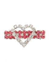 Heart Dog Swarovski Hair Clip / Dog Barrette - This heart shaped hair clip is a stunning piece of work, the heart is in clear Swarovski Crystals set against a back drop of large pink Crystals. The clear Crystal Heart is made up of 20 individual Crystals set on a pink belt of 18 Crystals, truly magnificent. Measures approx. 1.25'' - 3cm wide.