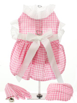 Pink Gingham / White Satin Ribbon Harness Dress, Lead & Cap - This sweet little pink gingham harness dress set is made from 100% soft cotton and is fully lined. It is belted with a white satin ribbon and has delicate white eyelet lace trimming the neck and arms. It has a sturdy reinforced D-Ring and a double sized / double strength velcro for comfortable and s...