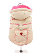 Cream / Pink Quilted & Hooded Bodywarmer - Practical with a splash of bling! This cream hooded bodywarmer is trimmed with fuchsia pink piping and has a diamante style belt loop. It also has a pocket which is perfect for treats and those all important small plastic bags. The soft fleece lining will certainly keep your dog snug and warm. The t...