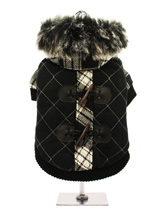 Tartan Duffle Coat with Detachable Hood - From our premium range of coats, this luxury tartan coat is cosy yet versatile. It can be worn as seen, with the faux trimmed hood, to keep your pup snug. Or, remove the hood and wear it as a duffle coat. The elasticated arm and hem, alongside the velcro fastening all make for a great fitting coat....