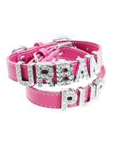 Fuschia Leather Personalised Dog Collar (Diamante Letters) - Fuschia Leather Personalised Dog Collar (Diamante Letters)