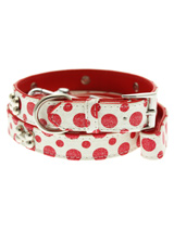 Red / White Polka Dot Glitter Silver Bone Collar & Lead Set - This striking red & white leather collar with stitched edging has a hint of glitter, finished with three chrome bones and will look great for walkies. A very smart addition to the wardrobe of any trendy pooch. Matching leather lead has silver clip with red & white polka dot glitter pattern and finis...