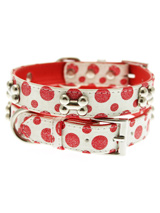 Red / White Polka Dot Glitter Silver Bone Collar - This striking red & white leather collar with stitched edging has a hint of glitter, finished with three chrome bones and will look great for walkies. A very smart addition to the wardrobe of any trendy pooch.<ul><li><b>S-M</b> Width: 14mm</li><li><b>M-L</b> Width: 19mm</li><li><b>L-XL</b> Width: 25...