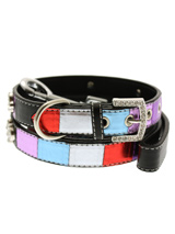 Striped Metallic Diamante Paw Collar & Lead Set - It doesn't get any more bling or beautiful than this collar! This multi coloured leather collar with a stitched edging has a crystal encrusted buckle with three bling sparkling diamante paws. The leather has been given a metallic finish on the purple, red, blue and silver sections. A glamorous addit...
