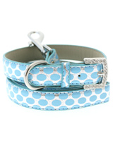 Silver & Blue Polka Dot Collar & Lead Set - This stunning blue & silver leather collar with a stitched edging has a crystal encrusted buckle, blue polka dots are laid out on a bed of silver to complete the look. A glamorous addition to the wardrobe of any trendy pooch. Matching leather lead has silver clip with blue & silver polka dot pattern...