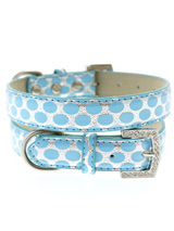 Silver & Blue Polka Dot Collar - This stunning blue & silver leather collar with a stitched edging has a crystal encrusted buckle, blue polka dots are laid out on a bed of silver to complete the look. A glamorous addition to the wardrobe of any trendy pooch.<ul><li><b>S-M</b> Width: 14mm</li><li><b>M-L</b> Width: 19mm</li><li><b>L-...