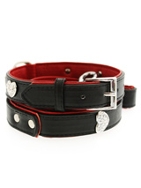 Red / Black Leather Diamante Heart Collar & Lead Set - This two tone red and black padded leather collar with a stitched edging has four bling sparkling diamante hearts which look particularly stunning against the black background of the collar. A glamorous addition to the wardrobe of any trendy pooch. Matching red and black two tone leather lead has si...