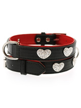 Red / Black Leather Diamante Heart Collar - This two tone black & red padded leather collar with a stitched edging has four bling sparkling diamante hearts which look particularly stunning against the black background of the collar. A glamorous addition to the wardrobe of any trendy pooch.<ul><li><b>S-M</b> Width: 16mm</li><li><b>M-L</b> Widt...