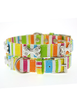 Striped Neon Canvas Diamante Bone Collar - A bright and fun neon collar, guaranteed to turn a grey day upside down! Finished in canvas with a stitched edge and features three chrome bones each inlaid with four diamante crystals.<ul><li><b>S-M</b> Width: 14mm</li><li><b>M-L</b> Width: 19mm</li><li><b>L-XL</b> Width: 25mm</li></ul>