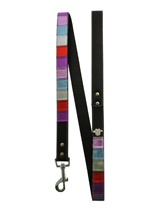 Striped Metallic Diamante Paw Lead - Striped metallic leather lead with a silver clip and finished with a diamante paw.<ul><li><b>S-M</b> Width: 14mm</li><li><b>M-L</b> Width: 19mm</li><li><b>L-XL</b> Width: 25mm</li><li>Lead Length: 1.08m / 48''</li></ul>