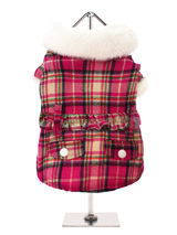 Fuschia Pink Fur Trimmed Tartan Coat - A really striking woollen coat with a bold tartan design, the  collar and cuffs are finished in a soft feel white faux fur while the lining is a pink quilted satin, truly luxurious. It comes complete with an elasticated belt to pull the waist in for the best fit possible and two faux pockets on the...