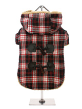 Red / Black Tartan Teddy Bear Duffle Coat - A beautiful tartan Duffle coat perfect your own little Braveheart. It features a toggle fastening with a contrast black check yoke to the back. It is fleece lined to keep your pup cosy and snug, not to mention on trend and a serious style icon. Four poppers on the underbelly allow for fast and easy...