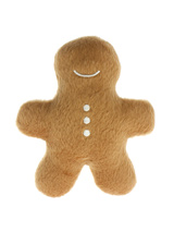 Gingerbread Man Plush & Squeaky Dog Toy - There is something about a Gingerbread man that just makes you want to sink your teeth into him and your pup will be no different, there will be no mercy and squeaking won't save him either. These soft, cute and cuddly toys are designed for your dog to both snuggle with and play with.