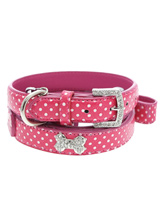 Hot Pink Polka Dot Collar / Diamante Heart Charm & Lead Set - Sparkling Bling Polka Dot Collar & Lead Set! This pink leather collar with a stitched edging has a crystal encrusted buckle and a large sparkling diamante heart charm complete the look. A glamorous addition to the wardrobe of any trendy pooch.<ul><li><b>S-M</b> Width: 14mm</li><li><b>M-L</b> Width:...
