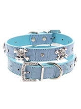 Skull & Crossbones Diamante Collar - Sparkling Bling Collar! This crocodile textured blue leather collar with a stitched edging has a crystal encrusted buckle with three large / bling sparkling diamante skull & crossbones. A glamorous addition to the wardrobe of any trendy pooch.<ul><li><b>S-M</b> Width: 14mm</li><li><b>M-L</b> Width:...
