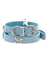 Skull & Crossbones Diamante Collar & Lead Set - Sparkling Bling Collar and Lead Set! This crocodile textured blue leather collar with a stitched edging has a crystal encrusted buckle with three large / bling sparkling diamante skull and crossbones. A glamorous addition to the wardrobe of any trendy poochS-M Width: 14mmM-L Width: 19mmL-XL Width: 2...