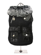 Black Fabric Coat with Fur Collar & Leather Belt - This is a really smart fabric coat with black leather accessories, fibre lining, elasticated arms and a black / grey fur collar for a warm snug fit. There are two pockets on the coat, black leather shoulder detailing and belt / buckle gives it a really trendy look. There are three poppers for openin...