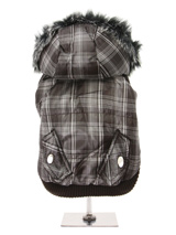 Brown Checked Parka with Detachable Hood - Another coat from our premium range of quilted coats. This is a <br />luxuriously parka coat with a fur trimmed detachable hood. It gives your <br />dog two styles in one; wear it as a parka or, when the hood is removed, <br />it can be worn as a coat. The arms and hem are elasticated for a great <b...