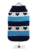 Blue Hearts Striped Sweater - A beautiful striped turtle neck sweater inlaid with hearts that say I love you. Cover up in style with this sweater that will keep the cold at bay and keep the wearer comfortable & snug on cold days and even colder nights.