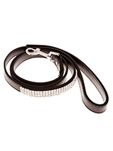 Jet Black Diamante Dog Lead - This black diamante lead has silver clip finished with a strip of sparkling diamantes. Pair it up with the matching black diamante dog collar to make a pure bling set.