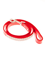 Flame Red Diamante Dog Lead - This red diamante lead has silver clip finished with a strip of sparkling diamantes. Pair it up with the matching black diamante dog collar to make a pure bling set.