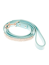 Aqua Blue Diamante Dog Lead - This blue diamante lead has silver clip finished with a strip of sparkling diamantes. Pair it up with the matching black diamante dog collar to make a pure bling set.
