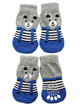 Teddy's Trousers Pet Socks - These fun and functional doggie socks protect your dogs paws from mud, snow, ice, hot pavement, hot sand and other extreme weather. Made from 95% cotton & 5% spandex making them comfortable and secure. Each sock features a paw shaped anti-slip silica pad & help keep your house sanitary. (set of 4).