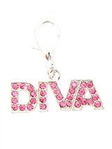 Swarovski ''Diva'' Dog Collar Charm (Pink Crystals) - Is your girl a Diva, then let everyone know so that she can get the respect she deserves. Our Swarovski ''Diva'' Dog Collar Charm will tell the whole world to move out of the way and let her pass. She is a Diva after all!