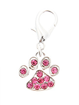 Swarovski Little Paw Dog Collar Charm (Pink Crystals) - A beautiful little paw to remind you of all the paw prints you have to clean up every day. But this one is a bit more fun with its shimmering crystal diamantes.