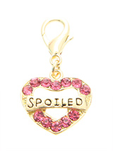 Swarovski ''Spoiled'' Heart Dog Collar Charm - They may be spoiled rotten but they are worth it. Confirm their special place in your life with this beautiful gold and pink charm.