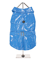 Blue Waterproof Trench Coat  - This iconic high gloss trench coat is a key piece for any winter wardrobe and represents an exciting twist on this classic wardrobe staple. It is 100% waterproof with a leash hole to allow a harness to be worn underneath the coat. This sophisticated yet practical trench coat has a fully adjustable b...