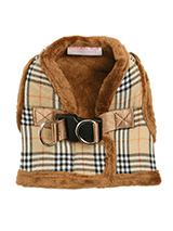 Luxury Fur Lined Brown Checked Tartan Harness - What can we say only that this harness is most definitely the height of <br />luxury. It is soft warm and heavy with a double D-ring for extra <br />security. It is lined with faux fur and finished around the neck and <br />arms again with faux fur for a super comfortable fit and finish. A <br />mat...