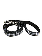 Black & White Tartan Fabric Lead - Here at Urban Pup our design team understands that everyone likes a coordinated look. So we added a Black & White Tartan Fabric Lead to match our Black & White Tartan Harness, Bandana and collar. This lead is lightweight and incredibly strong.
