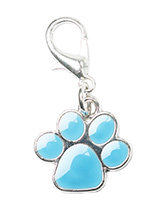Blue Enamel Paw Dog Collar Charm - This beautiful Blue Enamel Paw Dog Collar Charm is the perfect accessory for your pampered pet! Attaches to any collar's D-ring with a lobster clip. If you have girl then we have one in pink.