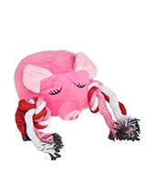 Little Piggy Plush & Squeaky Rope Toy - Little Piggy is a great toy for solo play or for you to join in. Hold on to one end of the rope and wiggle the other end to start a round of tug o' war, but just remember to let your dog win! This toy will provide hours of fun for your pup as he squeaks with every bite. These soft, cute and cuddly t...