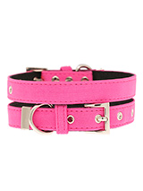 Neon Pink Fabric Collar - Our high visibility Neon Pink collar has a clean contemporary bold <br />style. It is lightweight and incredibly strong. The collar has been <br />finished with chrome detailing including the eyelets and tip of the <br />collar. A matching lead and harness are available to purchase <br />separately....