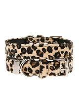 Leopard Print Fabric Collar - Our Faux Leopard collar is a contemporary animal print style and is right on trend. It is lightweight and incredibly strong. The collar has been finished with chrome detailing including the eyelets and tip of the collar. A matching lead, harness and bandana are available to purchase separately. You...