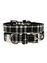 Black & White Tartan Fabric Collar - Our Black & White Tartan collar is a traditional design which is stylish, classy and never goes out of fashion. It is lightweight and incredibly strong. The collar has been finished with chrome detailing including the eyelets and tip of the collar. A matching lead, harness and bandana are available...