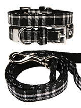 Black & White Tartan Fabric Collar & Lead Set - Our Black & White Tartan collar & lead set is a traditional design which is stylish, classy and never goes out of fashion. It is lightweight and incredibly strong. The collar has been finished with chrome detailing including the eyelets and tip of the collar. A matching lead, harness and bandana are...
